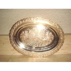 Strieborný orientálny tanier